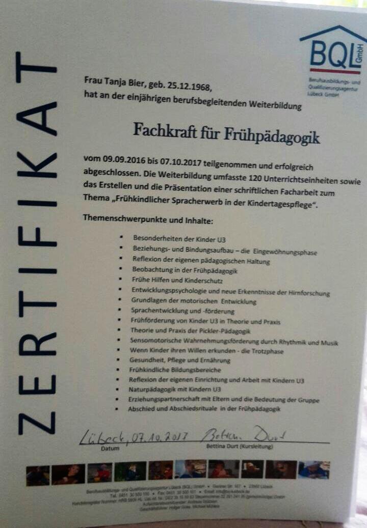 Zertifikat Fachkraft für Frühpädagogik Tanja Bier